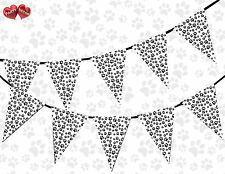Paw Print Black and White Themed Bunting Banner 15 Flags for Simply Stylish Part
