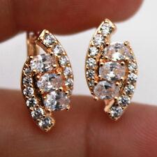 18K Gold Filled - Topaz Zircon Cat Eye Multilayer Gemstone Pageant Lady Earrings