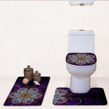 Floral Fashion Bathroom Rug Toilet Lid Covers Contour Rugs 3pcs Set Carpet Pad