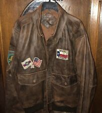 Antique Brown Leather Bomber Jacket