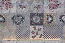 Stoff Baumwolle-Polyester beschichtet, Amore, Rosen/Herzen, beige/bunt, 140 cm