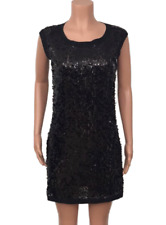 Laundry By Shelli Segal Women's Black Sequin Sleeveless Shift Dress, Size 6