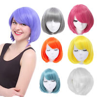 Harajuku Women Straight BOBO Short Purple Yellow Cosplay Party Full Wig 5 Colors
