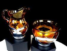 """CAMBRIDGE GLASS AMBER FARBERWARE SILVER ART DECO 4.25"""" CREAMER & SUGAR SET 1930"""