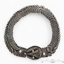 Antique Vintage Deco Sterling Silver Chinese Filigree Etruscan Snake Bracelet!