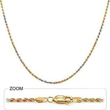 "7.70 gm 14k Solid Gold Tri Color Unisex Diamond Cut Rope Chain Necklace 20"" 2 mm"
