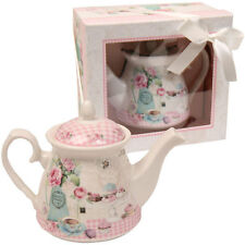 Pretty Ceramic Gingham & Lace Cupcake Party Teapot With Gift Box