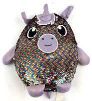 "Shimmeez Sequin Rainbow Silver Unicorn 8"" Plush Stuffed Animal Pillow"