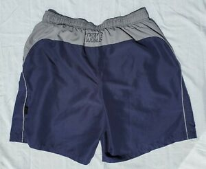 Nike Spell Out Board Shorts Mens XL Blue Gray Color Block Beach Swim Trunks