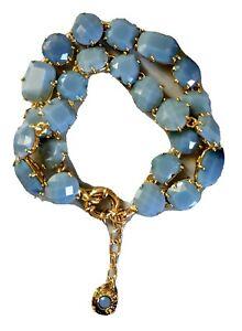 AUTHENTIC LES NEREIDES PARIS DOUBLE BRACELET FROSTED BLUE DIAMANTINE. RRP £295.