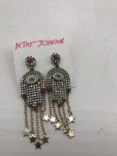 $52 Betsey Johnson Mystic Baroque Queens Stone  Gold Hamsa Drop Earring F222