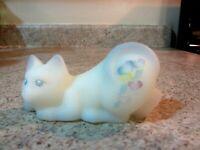 """Fenton Glass Opal Satin and Blue Handpainted  Hearts and Ribbons 4"""" Pouncing Cat"""