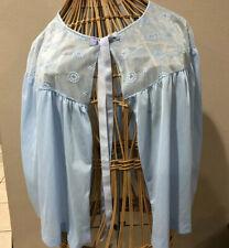 New listing Sans Souci Vintage Nylon Blue Bed Jacket Embroidery Ribbons , Sheer sz L