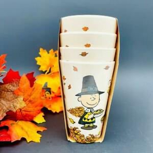 NEW Peanuts Snoopy Bamboo Eco Friendly Set Of 4 Halloween cups The Great Pumpkin
