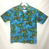 Vintage Blue Hawaii Mens Hawaiian Shirt Size Medium Palm Trees Diamond Head TIki
