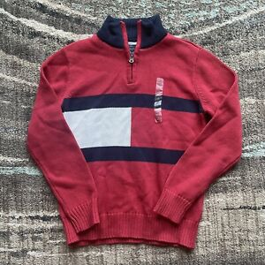 NWOT Youth Boys Tommy Hilfiger Big Flag Pullover Sweater Sz Large Red Blue Zip