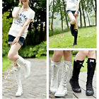 Womens Girl Canvas Knee High Boots Sneakers Flat Punk Lace Up Shoes Black White