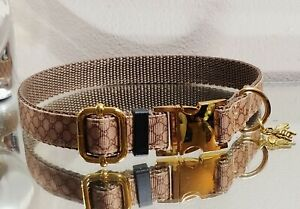 LaGucci Classic Tan GOLD METAL Buckle Bee Dog Collar 13-15 in Neck Ret.$68- 🐩💛