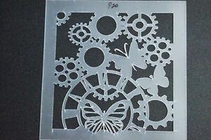 Stencils,Masks,Templates, Scrapbooking ,P20 clock cog, 200x200mm  FREE POST