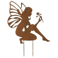 Colorful Garden Patio Decor Fairy Angel Stake Rusty Metal Sign