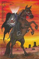 4X6 HALLOWEEN POSTCARD PRINT LE 3/50 RYTA VINTAGE STYLE ART HEADLESS HORSEMAN