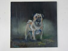 """Original Oil Painting Pug Dog Pup William Jamison 6""""x 6"""""""