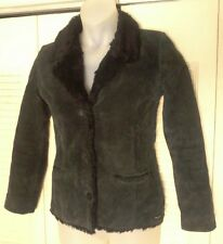 HURLEY Black/Charcoal SUEDE LEATHER Coat/Jacket w/ Faux FUR Trim/Lining Sz Small