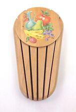 Vintage Solid Wood 5 Slot Hanging Knife Block Rack Fruit Design Yugoslavia