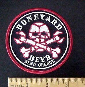 BONEYARD BEER BEND OREGON SKULL & CROSS BONES EMBROIDERED IRON-ON PATCH