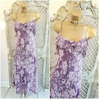 PER UNA UK 8 L Purple Lace Print Layered Fit & Flare Midi Dress Marks & Spencer