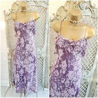 PER UNA UK 8 L Purple Lace Print Layered Fit & Flare Midi Dress Marks & Spencer