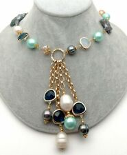 Crystal Sea Shell Pearl Necklace 26'' Cultured Black Baroque Keshi Pearl