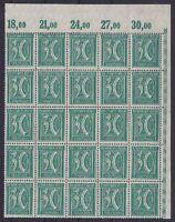 DR Mi Nr. 162 ** 5x POR 25er Bogenteil Eckrand, Ziffer 1921, postfrisch, MNH
