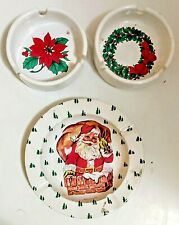 Vintage Christmas Holiday Ashtray Metal and Ceramic Santa Clause Holly Lot of 3