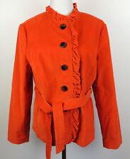 L.L. Bean Womens 14 Orange Stretch Corduroy Jacket Coat Belted Ruffle Collar