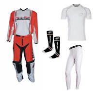 PULSE ORANGE SYNERGY MOTOCROSS MX ENDURO QUAD BMX MTB KIT + BASE LAYERS & SOCKS