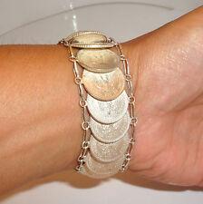 Vintage Mexican Silver Coin Bracelet 20 Centavos 71.3 gr Hand Made
