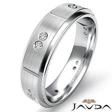 Bezel Diamond Eternity Wedding Band 14k White Gold Bevel Edge Mens Ring 0.15Ct