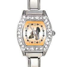 Afghan Hound CZ Ladies Stainless Steel Italian Charm Bracelet Wrist Watch BJ1056