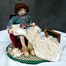 USA-Made Collector's Item Soft Sculpture Doll w/ Wood Hope Chest by J. Reimann