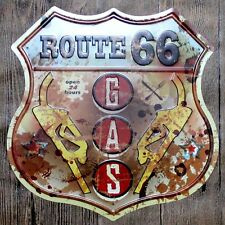 Metal Tin Sign open 24h route 66 gas station Bar Pub Vintage Retro Poster Cafe