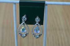 2.90ct Mystic Topaz / Blue Topaz Earrings Platinum over Fine Silver