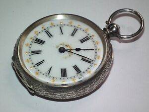 Beautiful, Antique c1890 Highly Detailed Dial & Solid Silver Pocket / Fob Watch