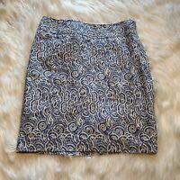 The Limited Women's Size 10 Pencil Skirt Blue White Circular Geometric Linen