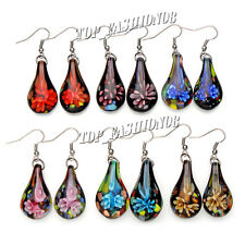 FREE wholesale lot 6Pairs Flower Leaf murano glass bead Silver Plated earrings