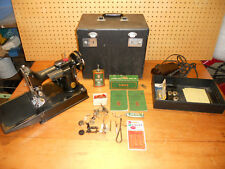 Vintage 221-1 Singer Featherweight Sewing Machine With Case/Attachments