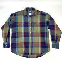Wrangler Snap Button Up Shirt Men's Size XL Long Sleeve Plaid Casual Collared