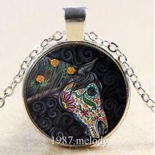 Photo Cabochon Glass Silver/Bronze/Black Chain Pendant Necklace (Sugar horse)