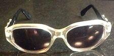 Vtg Chariol Clear Acetate Hexagon Frames w/ Black & Gold Arm Sunglasses