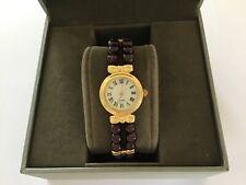 Beautiful Gold Plated & Red Bead Quartz Analogue Wristwatch - Working